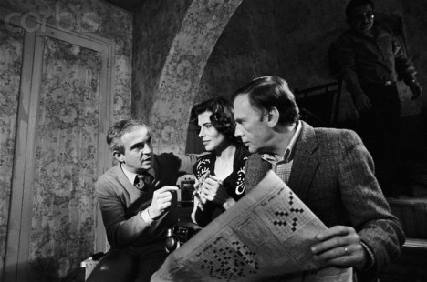 Francois Truffaut, Fanny Ardant and Jean-Louis Trintignant on Film Set
