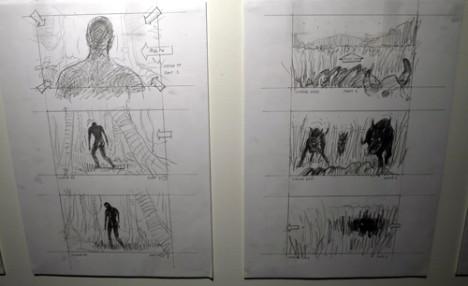Storyboards til filmen «Tropical Malady» er stilt ut i Stenersenmuseet fram til desempber. Foto: Oda Bhar