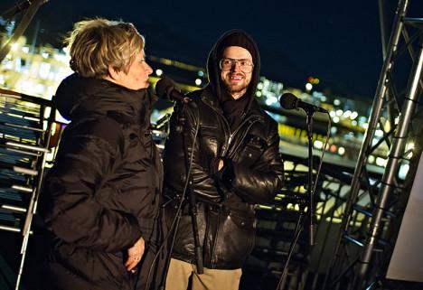 Regissør Carl Christian Lein Størmer og festivalsjef Martha Otte på dekket av Hurtigruta, hvor den nye traileren hadde utendørs premiere under TIFF 2014.
