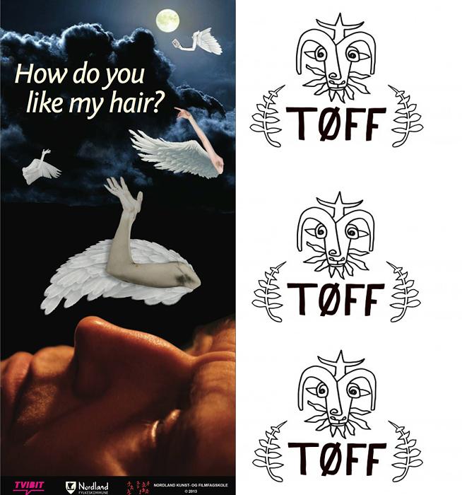 Emilies flyer fra Tromsø, og den hjemmesnekrede logoen til enkvinnesfestivalen TØFF.