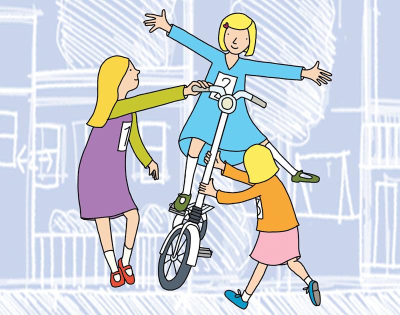 De tre søstrene i «Moulton og meg» får en litt annen sykkel enn de ønsket seg.