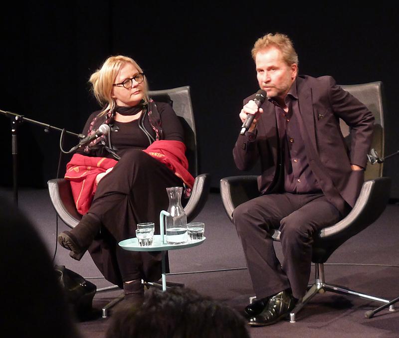 Ulrich Seidl med sin samboer og samarbeidspartner Veronika Frantz på scenen under IDFA 2014. Foto: Oda Bhar.