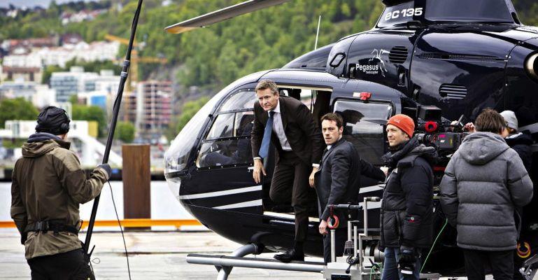 """Henrik Mestad og Eldar Skar fra innspillingen av """"Okkupert""""."""